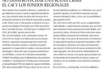 Columna de Opinión: No desaprovechar una buena crisis. El C4i y los fondos regionales