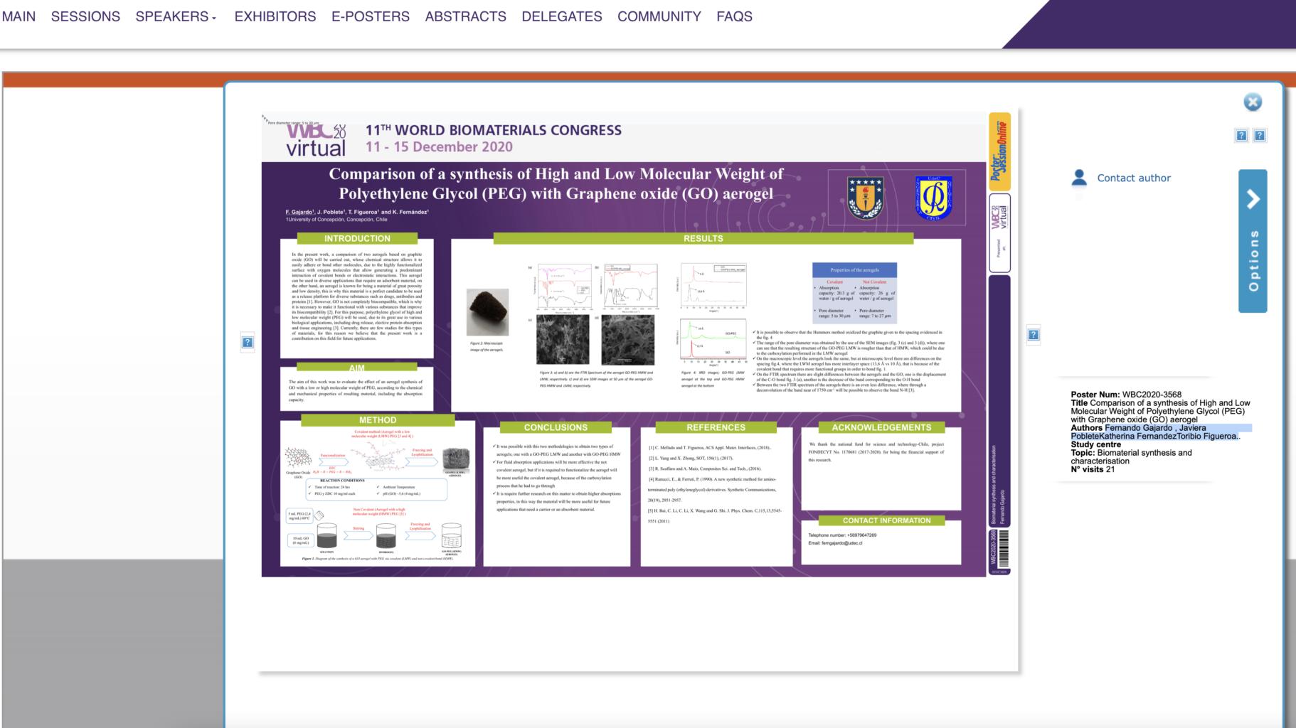 Laboratorio de Biomateriales del DIQ participó en el Congreso WBC2020